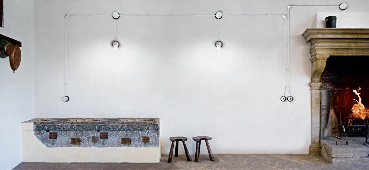 Aldo bernardi impianto a treccia linea rigel scatola di derivazione piccola italian style shopping - Impianti elettrici a vista per interni ...